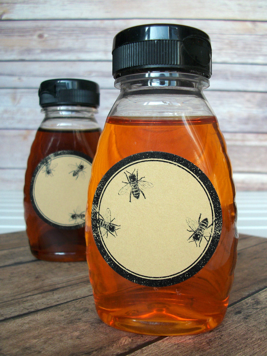 Rubber stamp kraft honey bee canning label | CanningCrafts.com
