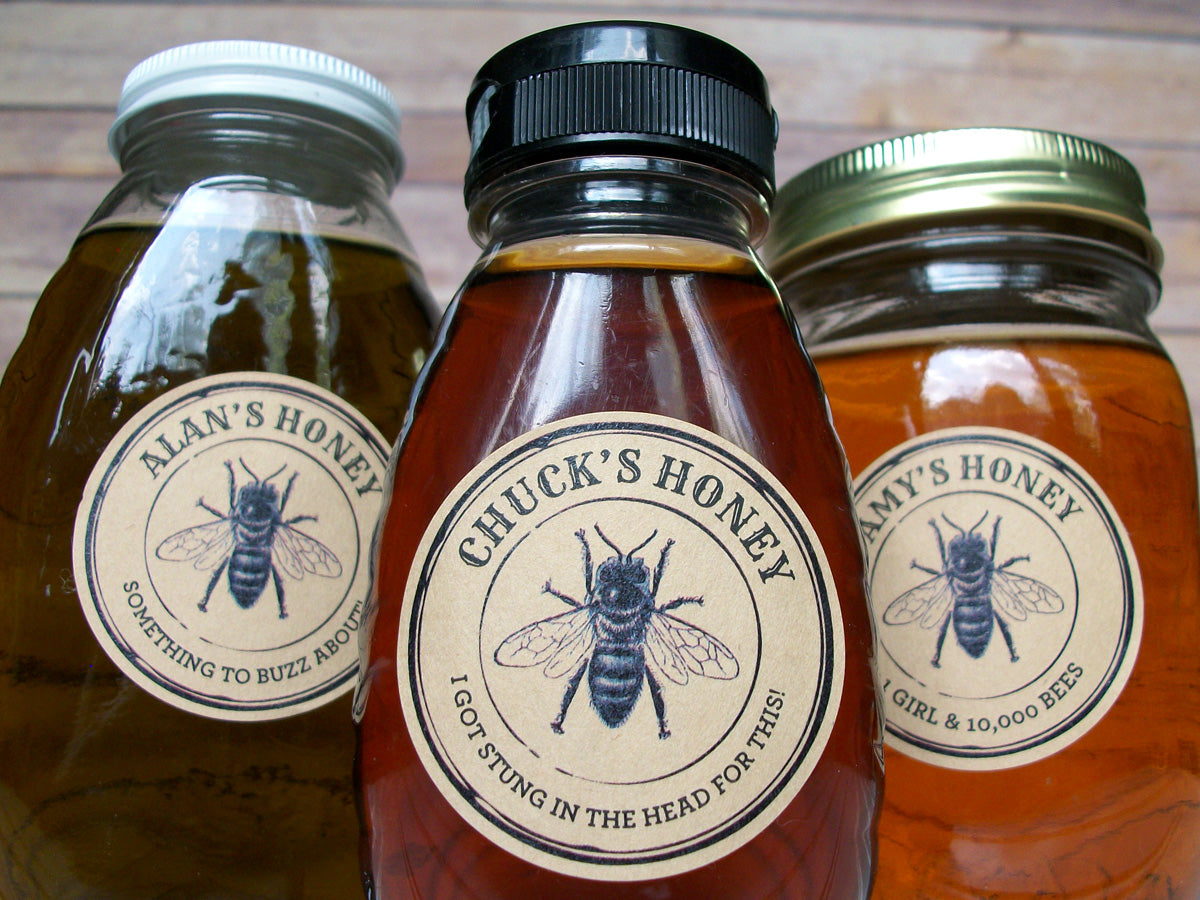 Custom Kraft Seal Honey Bottle Labels | CanningCrafts.com