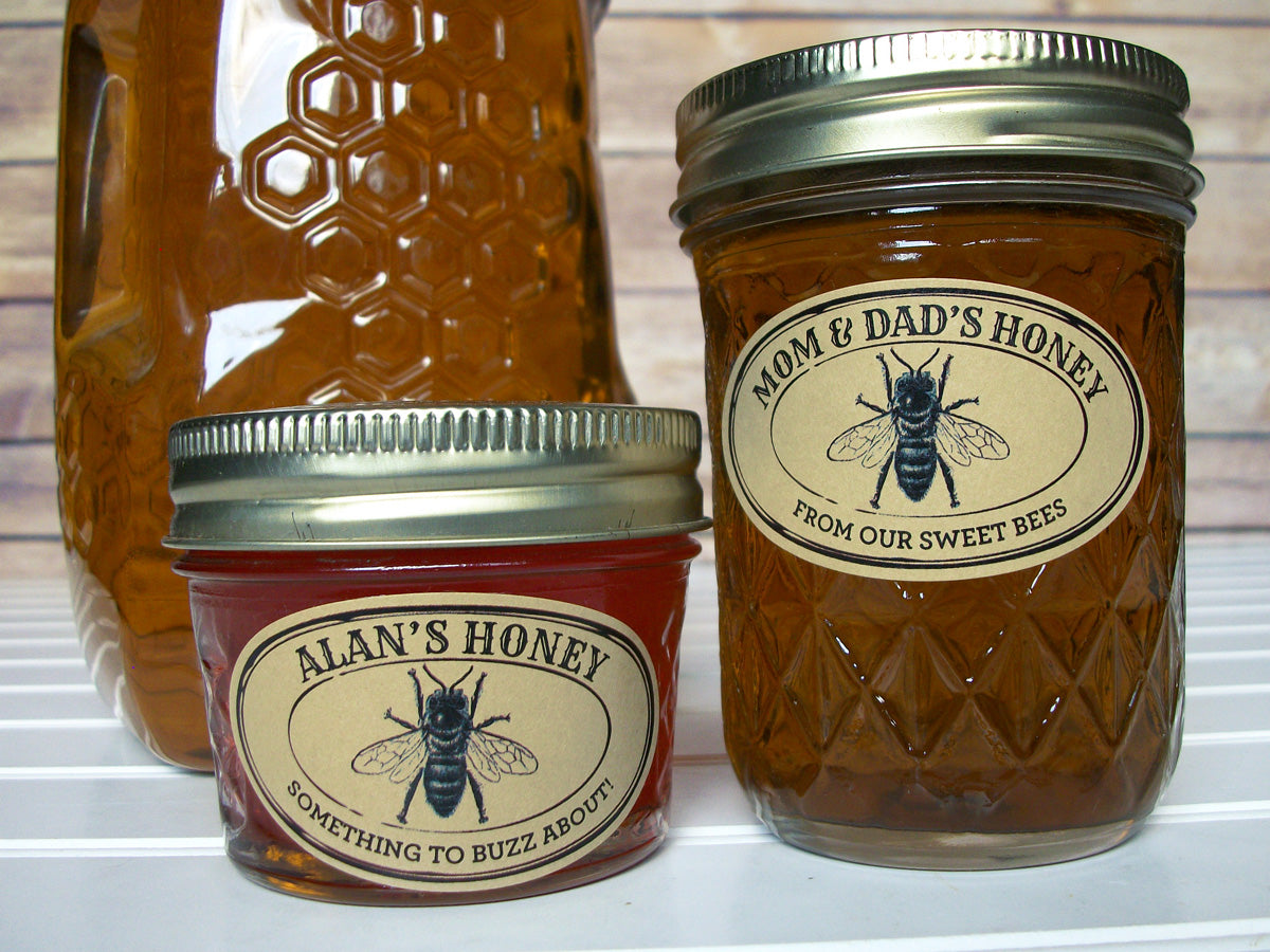 Custom Kraft Seal Oval Honey Jar Labels | CanningCrafts.com
