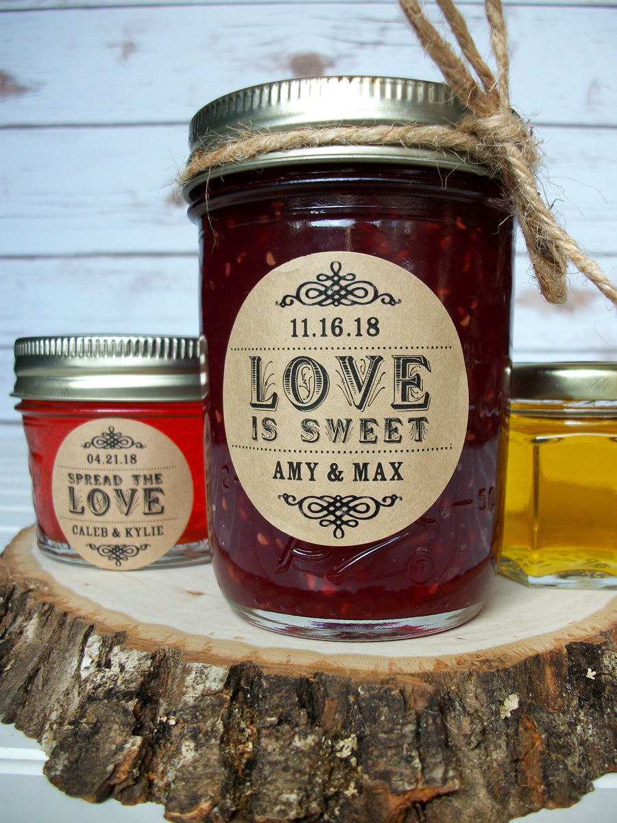 Kraft Spread the Love or Love is Sweet Wedding Canning Labels | CanningCrafts.com