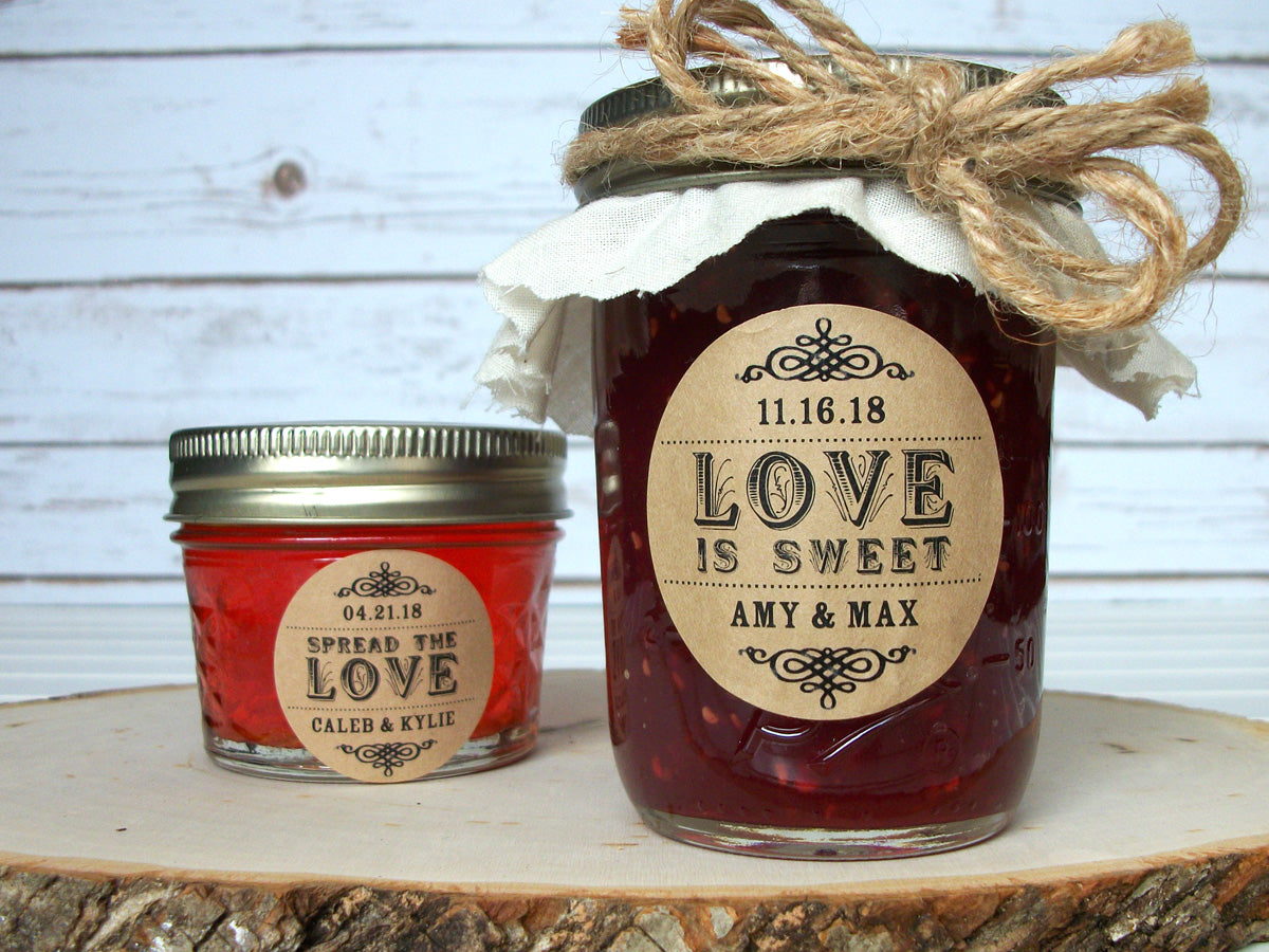 Kraft Spread the Love or Love is Sweet Wedding Favor Labels | CanningCrafts.com