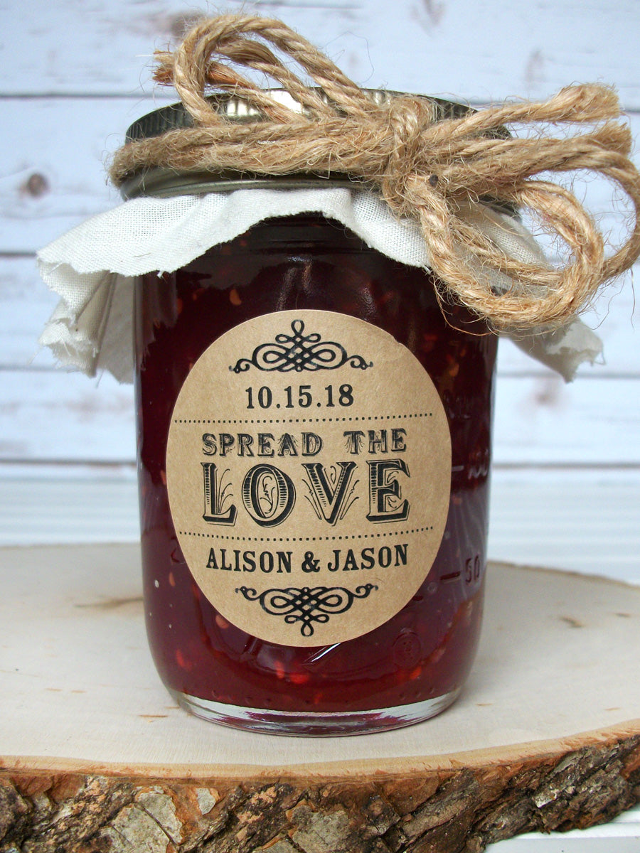 Kraft Spread the Love Wedding Favor Labels | CanningCrafts.com