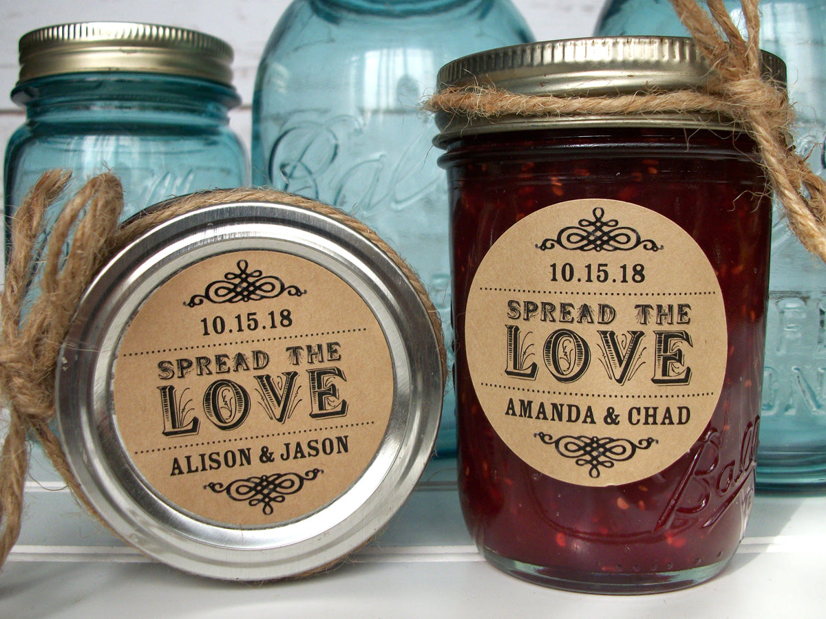 Kraft Spread the Love or Love is Sweet Wedding Jam Jar Labels | CanningCrafts.com