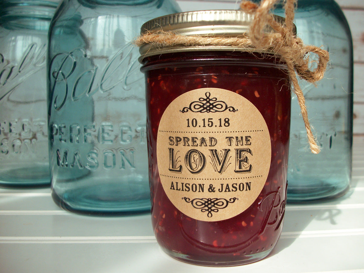 Kraft Spread the Love Wedding Jam Jar Labels | CanningCrafts.com