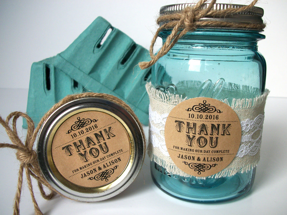 custom Thank You wedding canning jar label | CanningCrafts.com