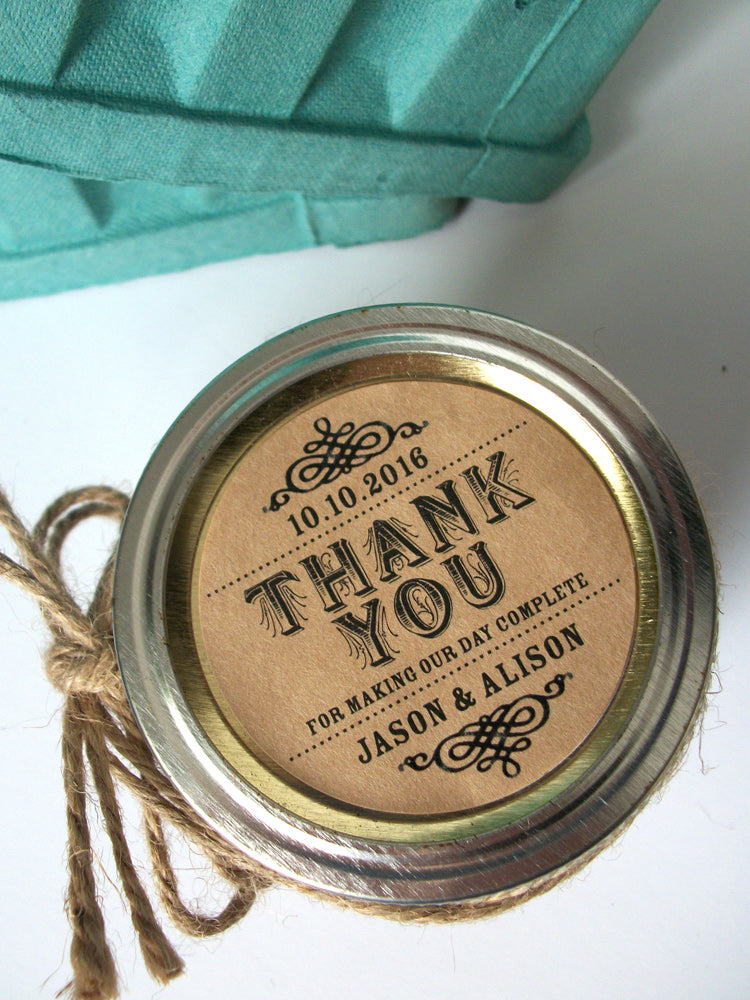 custom Thank You wedding label | CanningCrafts.com