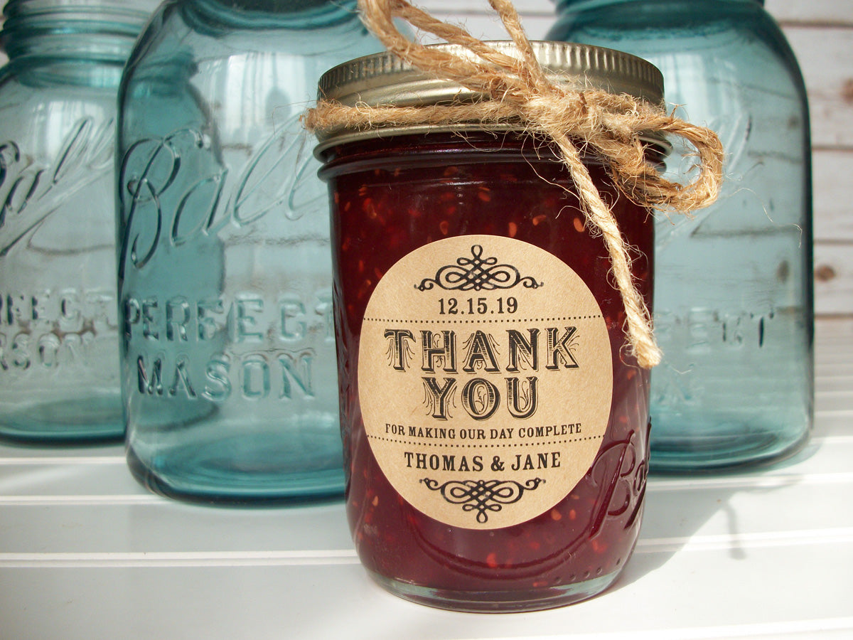 custom Thank You wedding jam jar favor label | CanningCrafts.com