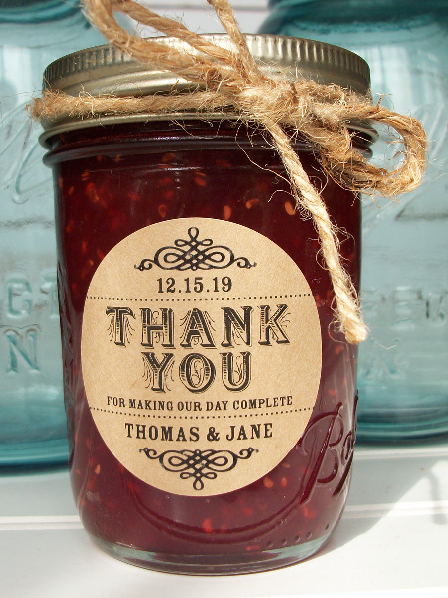 custom Thank You wedding favor label | CanningCrafts.com