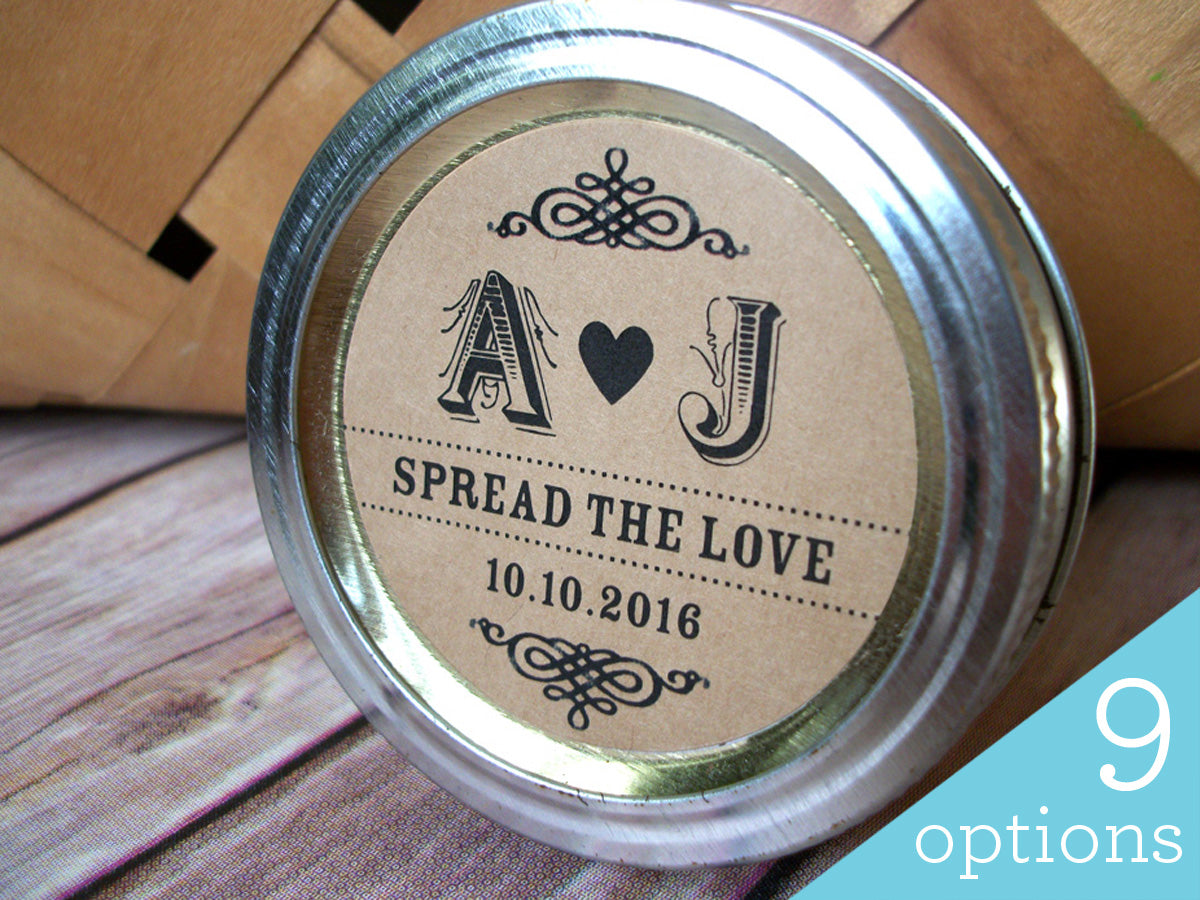 Custom Kraft Wedding Initials Canning Labels | CanningCrafts.com