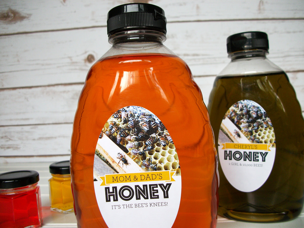 custom oval Busy Bees honey jar & bottle labels | CanningCrafts.com