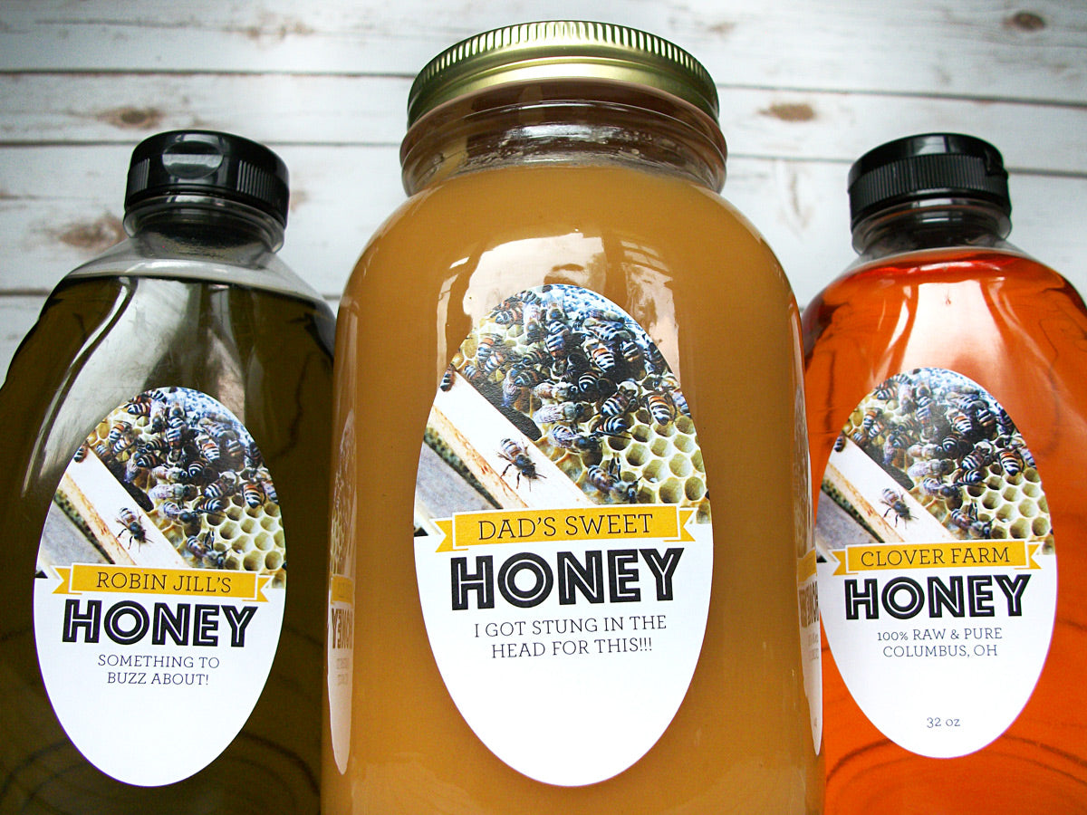custom oval Busy Bees honey labels | CanningCrafts.com