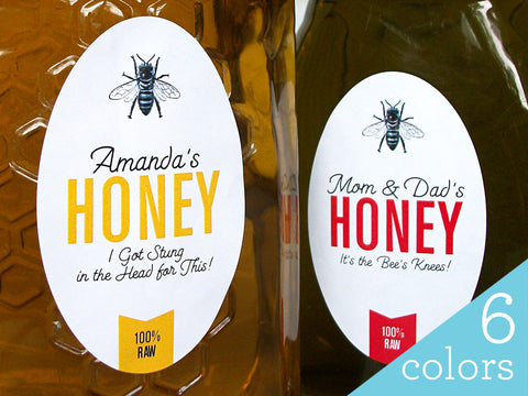 Custom Colorful Large Oval Honey Labels | CanningCrafts.com
