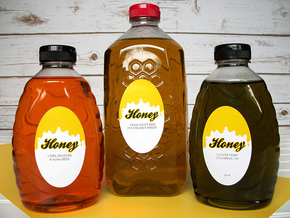 Custom Liquid Gold Large Oval Honey Bottle Labels | CanningCrafts.com