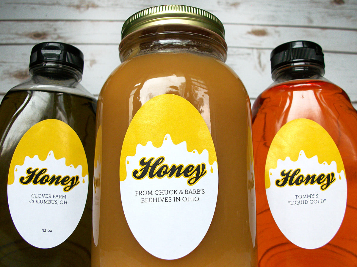 Custom Liquid Gold Large Oval Honey Labels | CanningCrafts.com