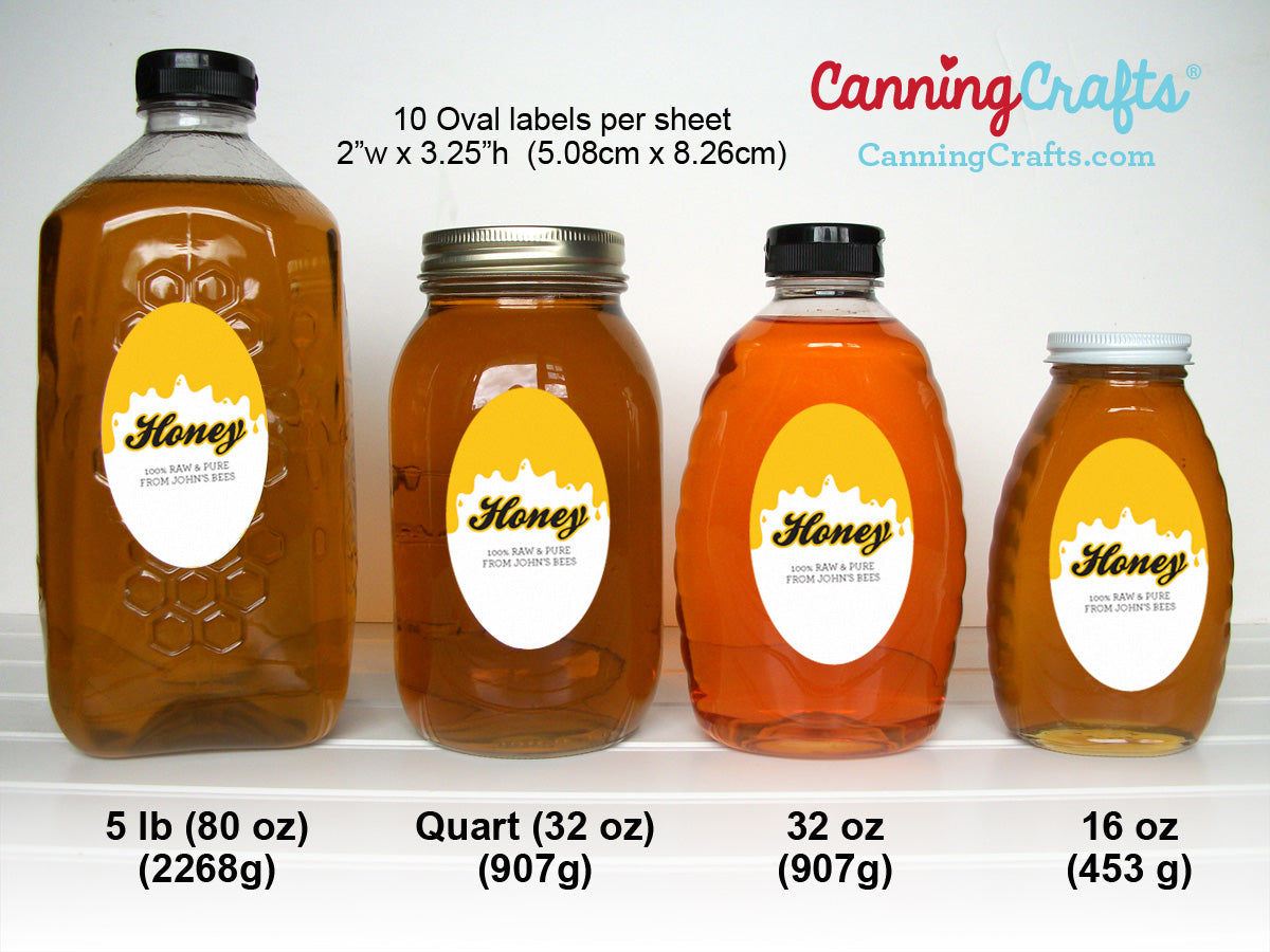 Large Oval Honey Labels Size Chart | CanningCrafts.com