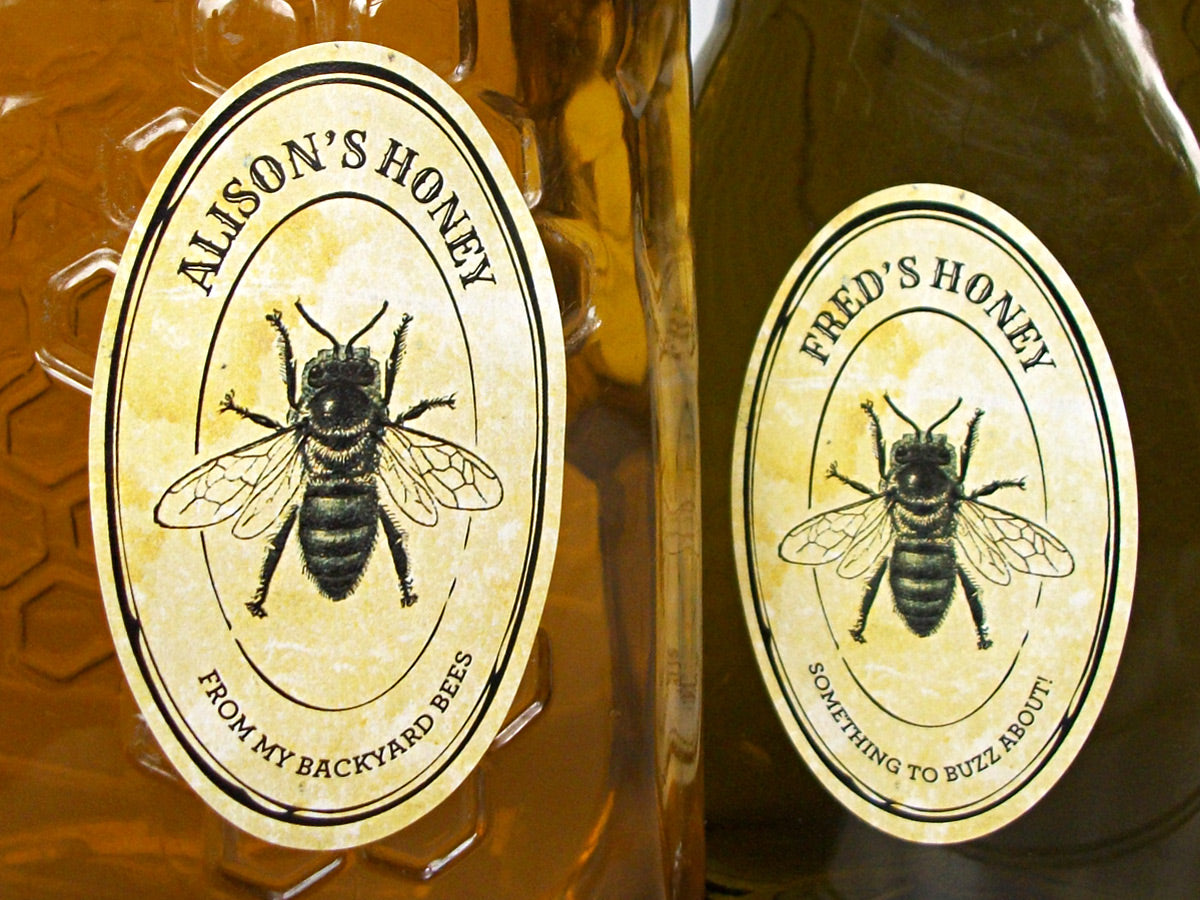 Custom oval vintage seal honey labels | CanningCrafts.com