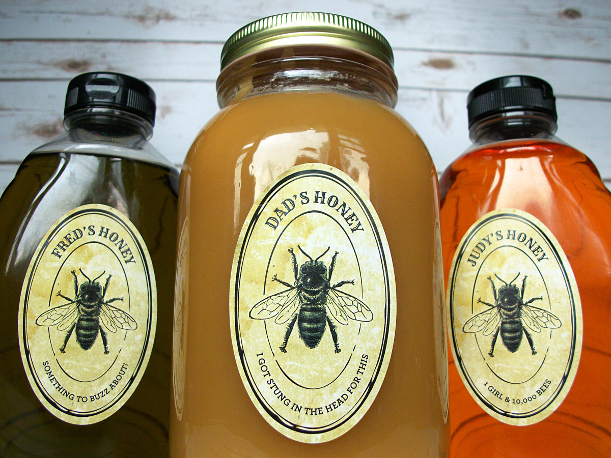Custom oval vintage seal honey bottle & jar labels | CanningCrafts.com