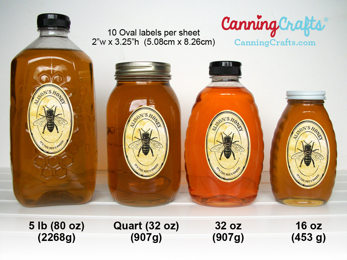 Custom oval honey label & bottle size chart | CanningCrafts.com