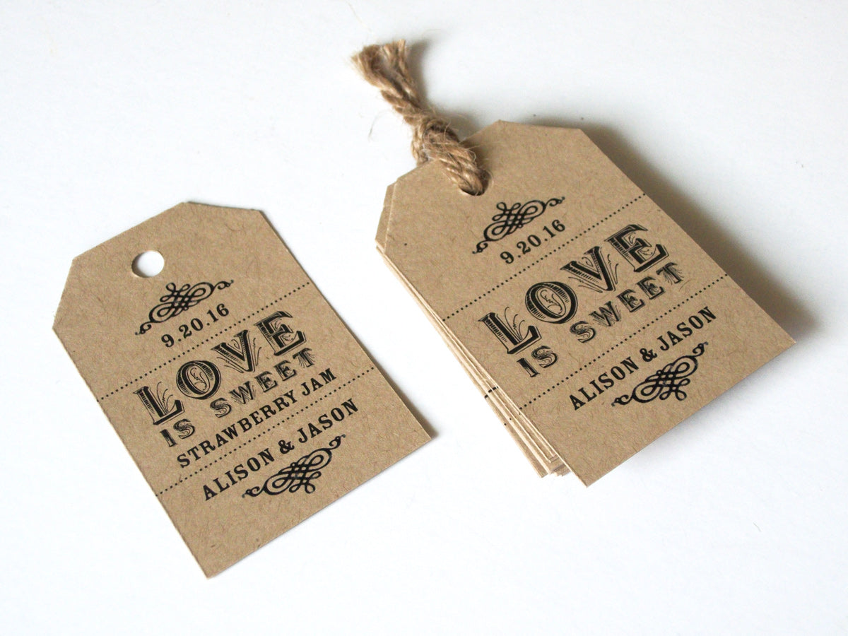 Custom Love is Sweet Wedding Hang Tags | CanningCrafts.com