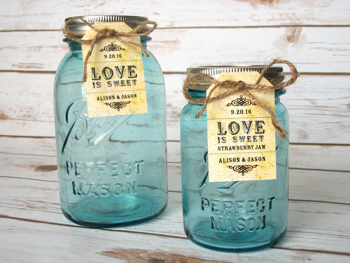 Custom Vintage Love is Sweet Wedding Hang Tags | CanningCrafts.com