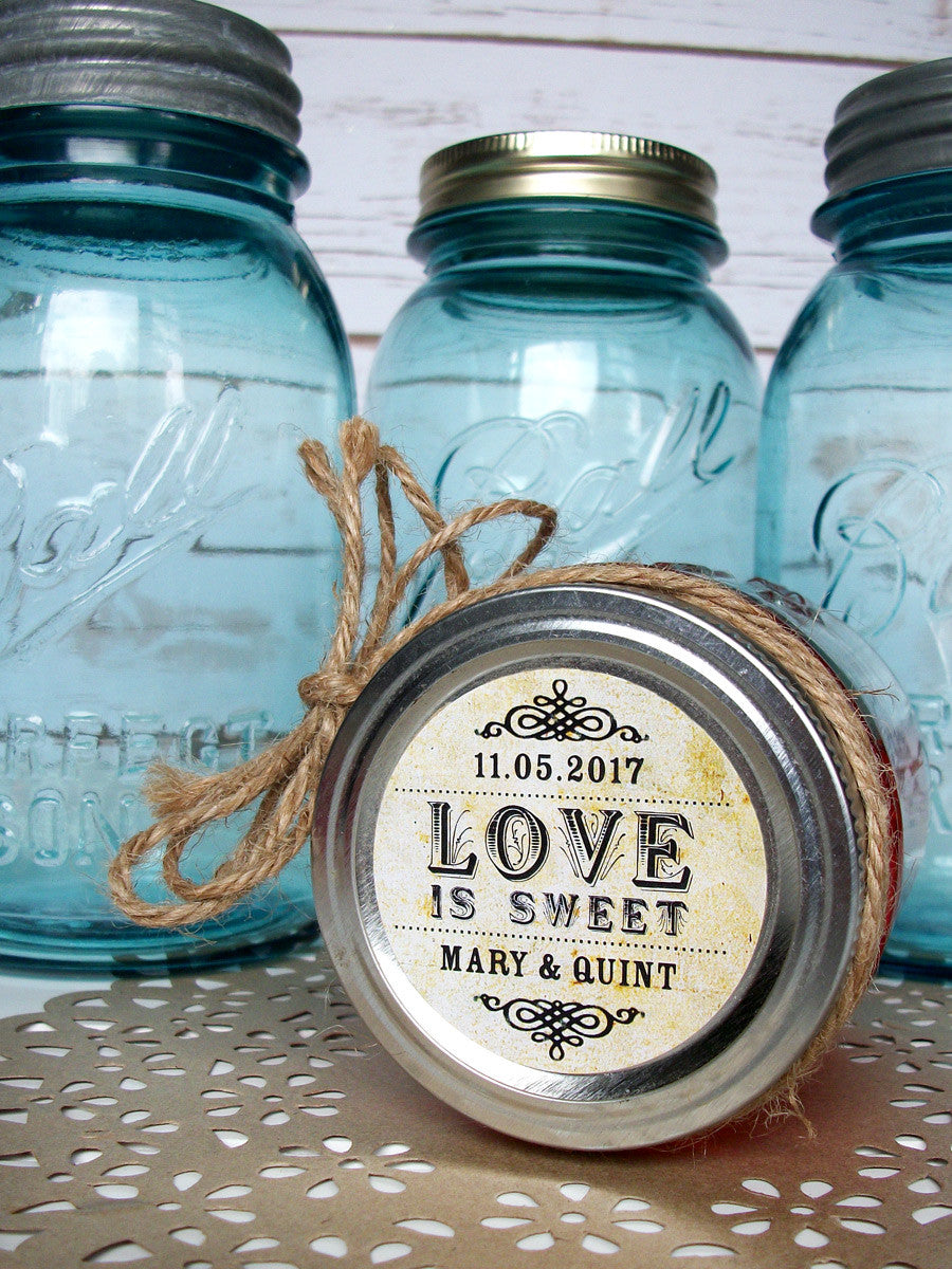 Love is Sweet Wedding Jam Jar Label | CanningCrafts.com