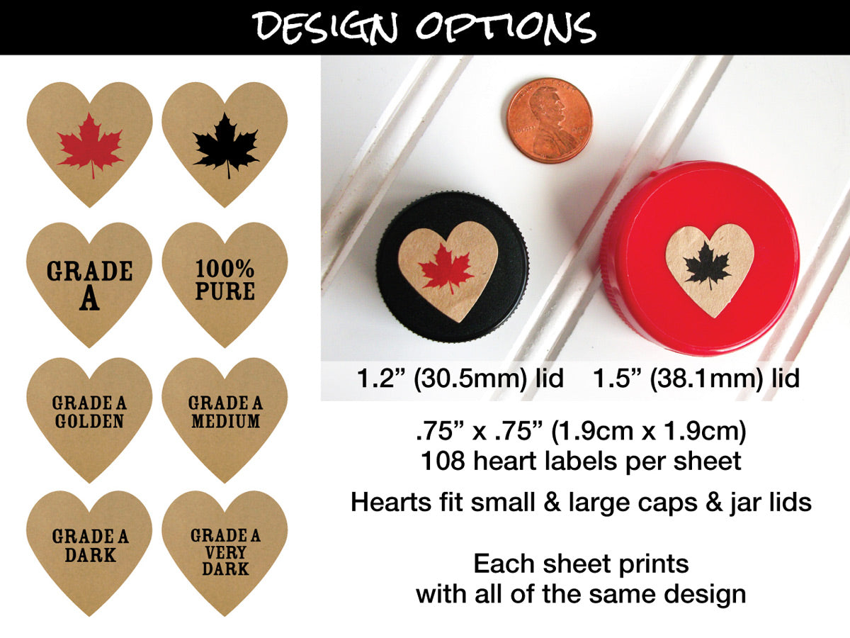 Kraft Heart Maple Syrup Grade Labels size chart | CanningCrafts.com