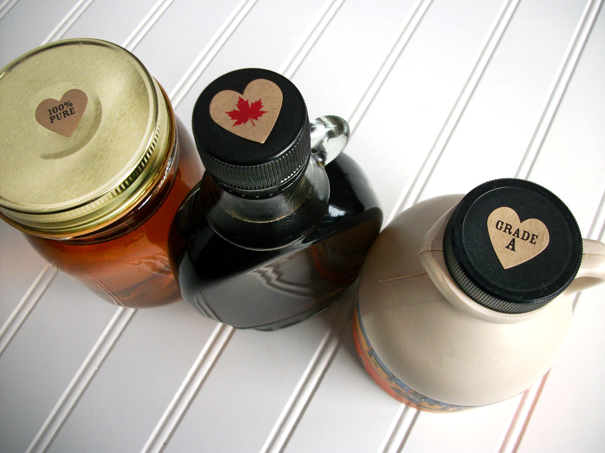 Kraft Heart Maple Syrup Grade Labels | CanningCrafts.com
