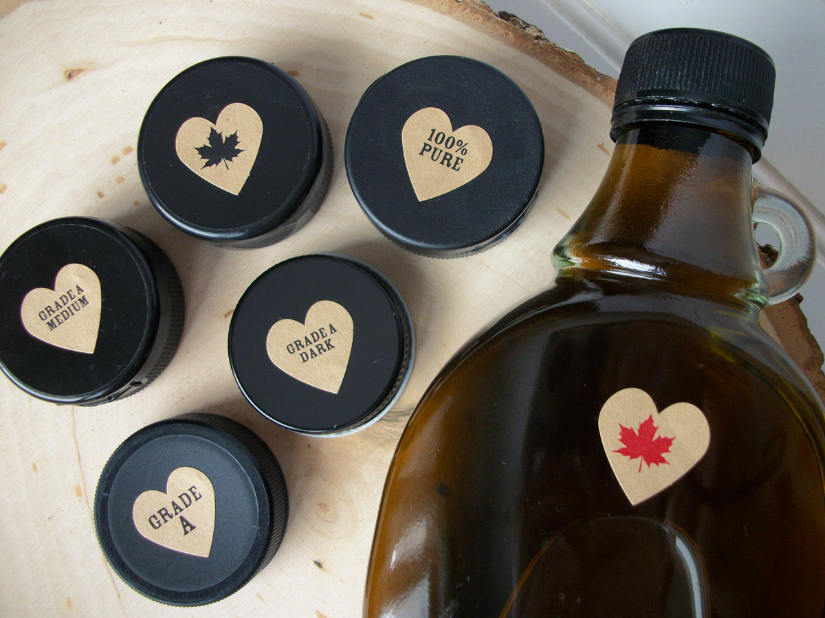 Kraft Heart Maple Syrup Grade & Leaf Labels | CanningCrafts.com
