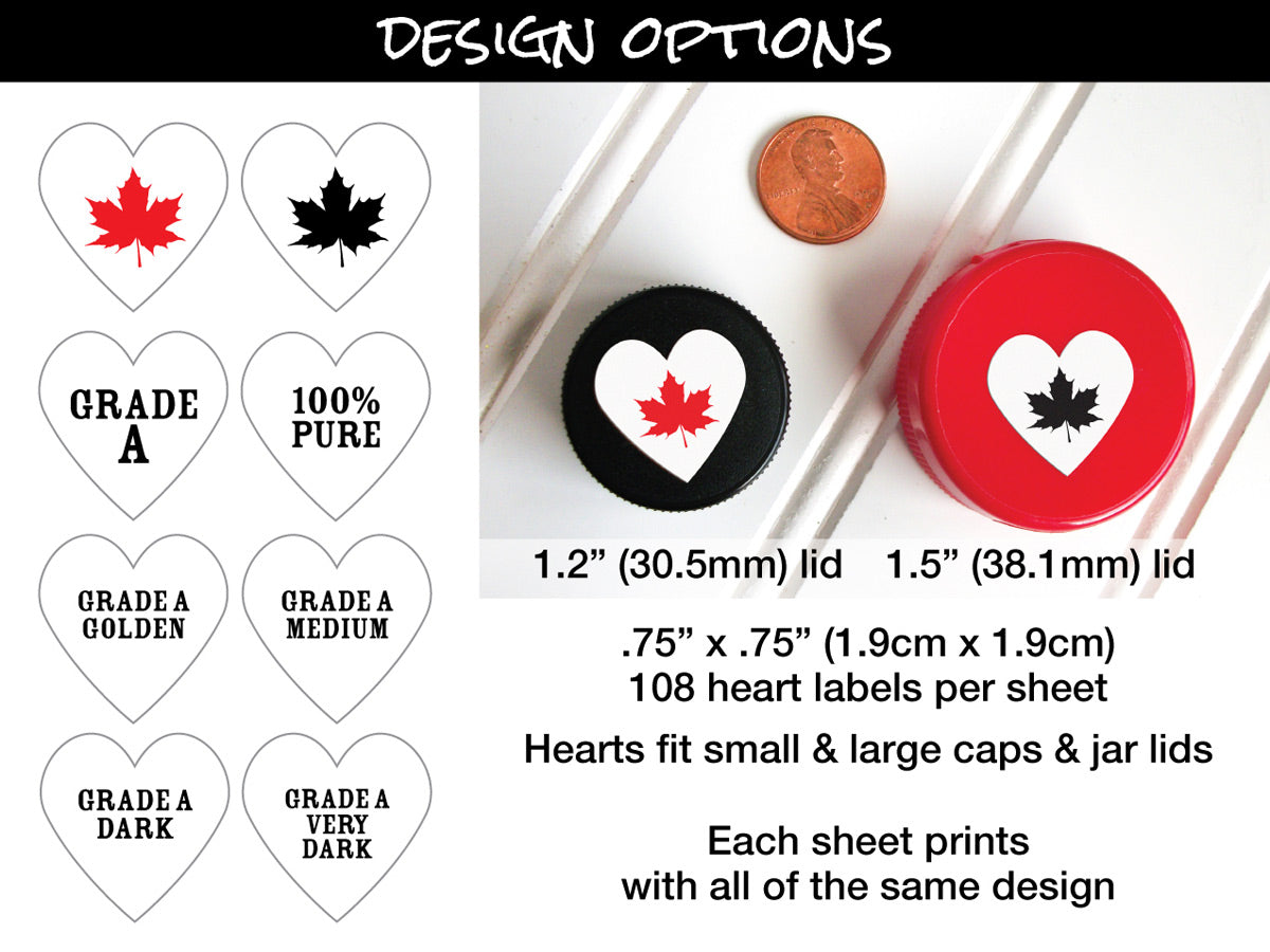 Heart Maple Syrup Grade Labels lid size chart | CanningCrafts.com