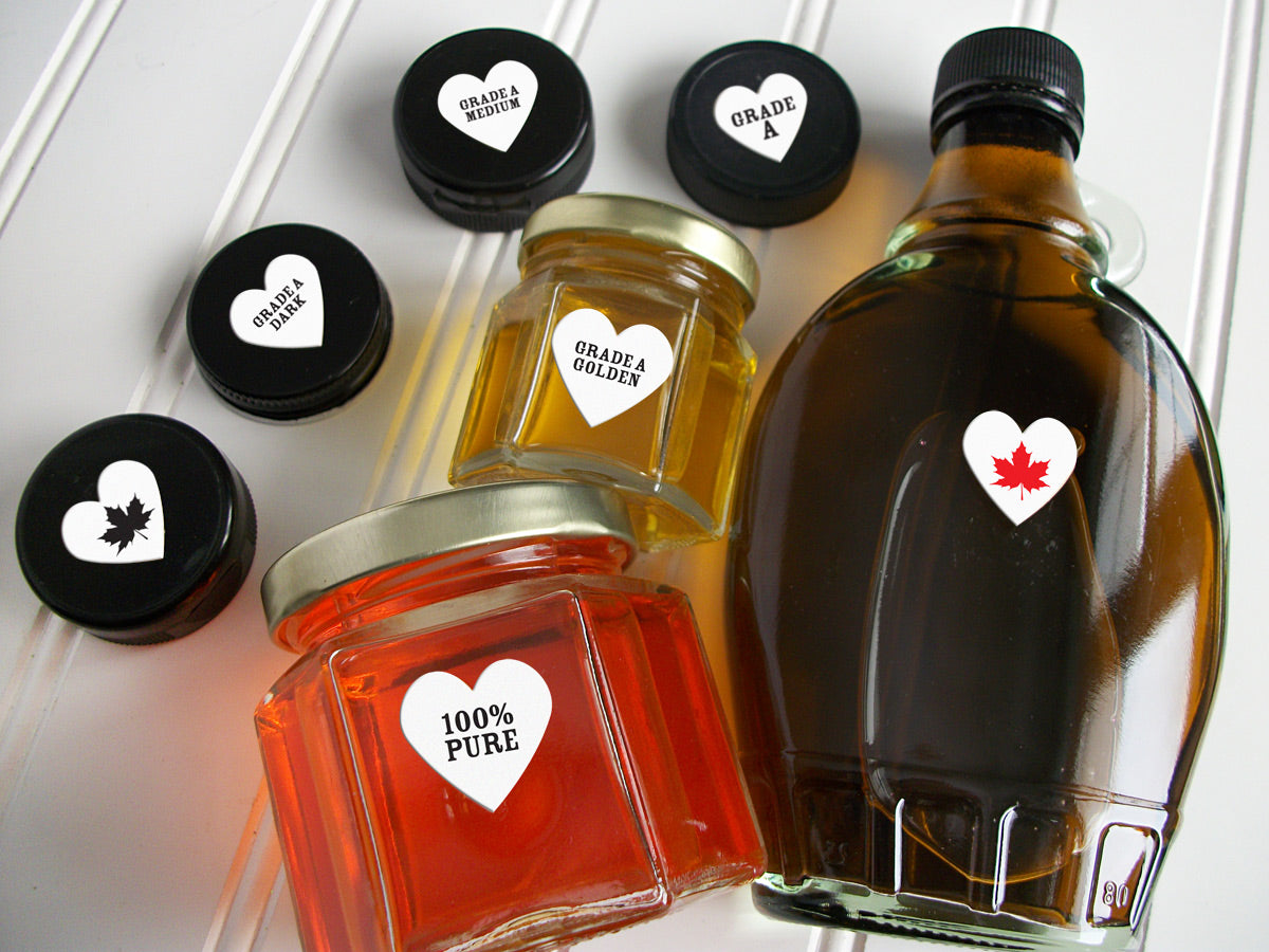 Heart Maple Syrup Grade Stickers | CanningCrafts.com