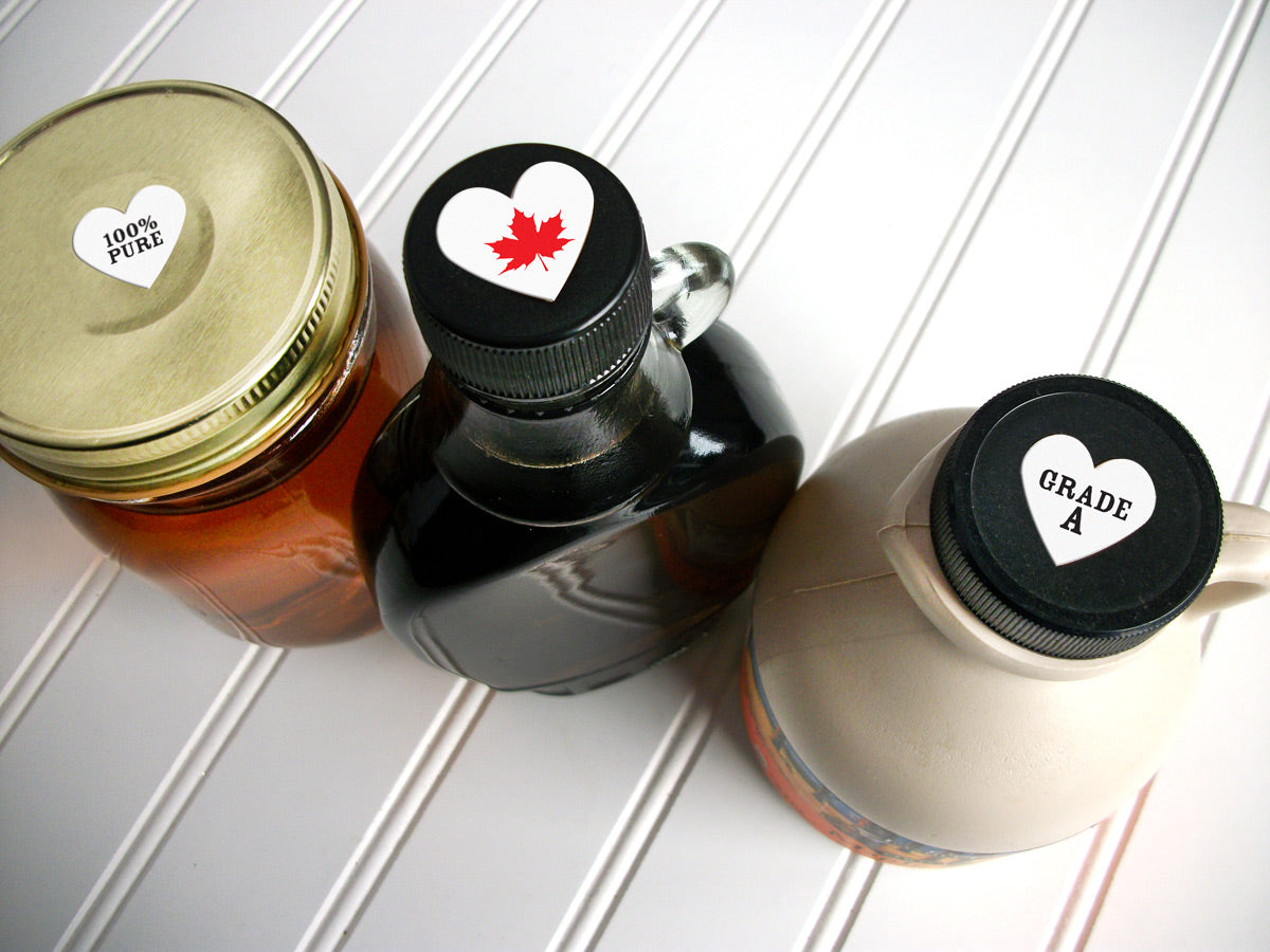 Heart Maple Syrup Grade Labels for bottle caps & lids | CanningCrafts.com