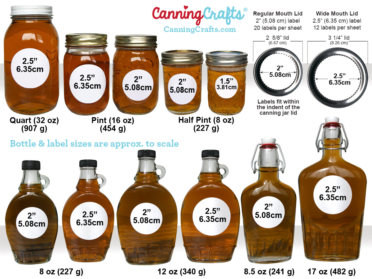 Maple Syrup label & bottle size chart | CanningCrafts.com