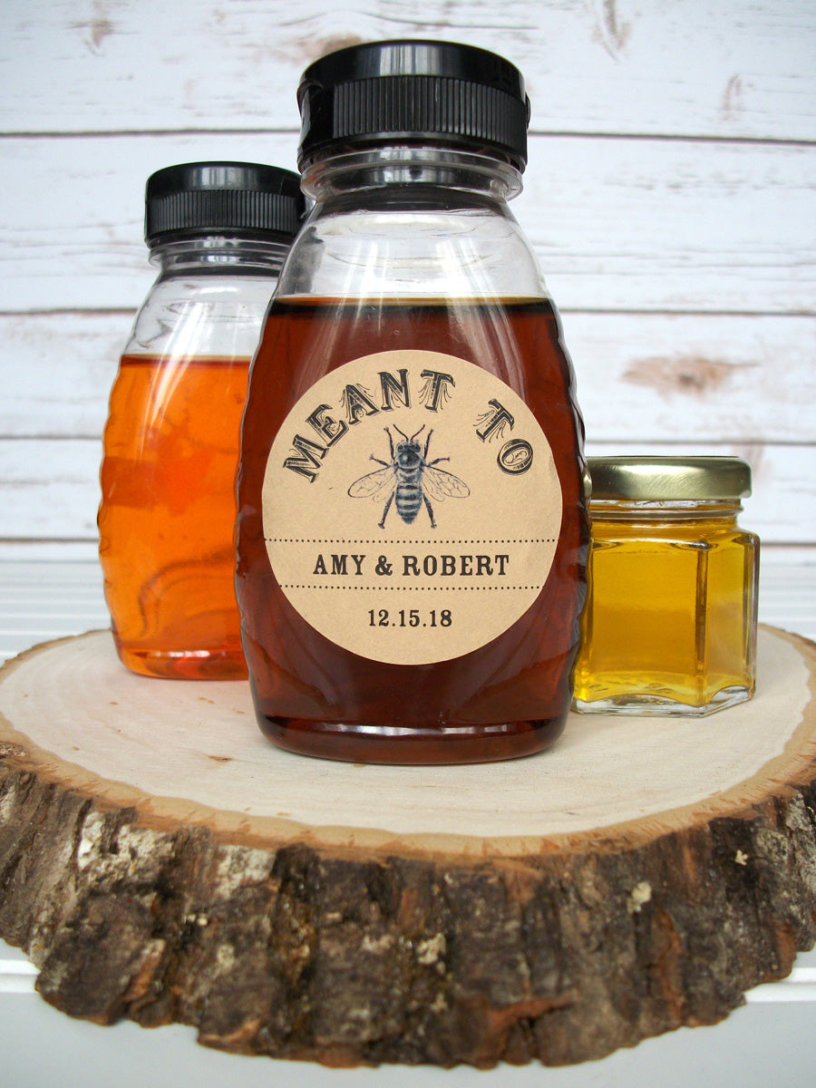 Kraft Meant to Bee Wedding Honey Favor Labels | CanningCrafts.com