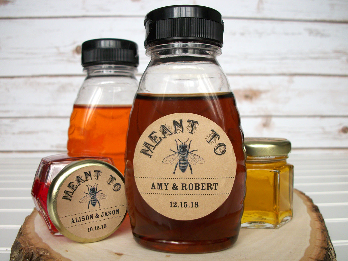 Kraft Meant to Bee Wedding Honey & Canning Labels | CanningCrafts.com