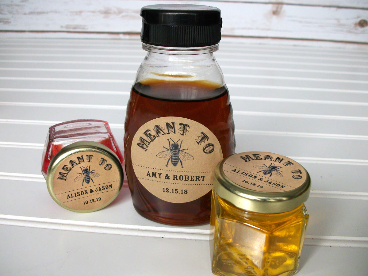 Kraft Meant to Bee Wedding Honey Favor Jar Labels | CanningCrafts.com