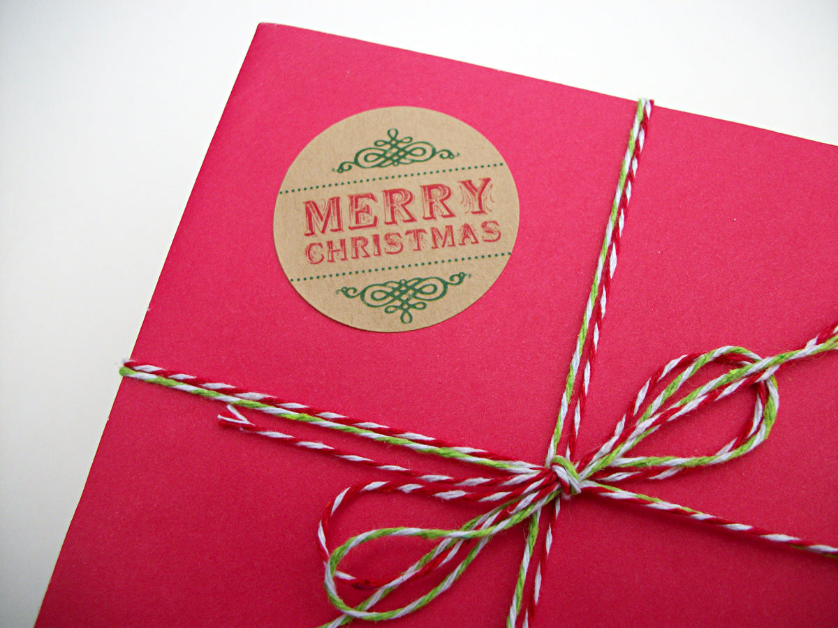 merry christmas happy holidays envelope seals labels | CanningCrafts.com