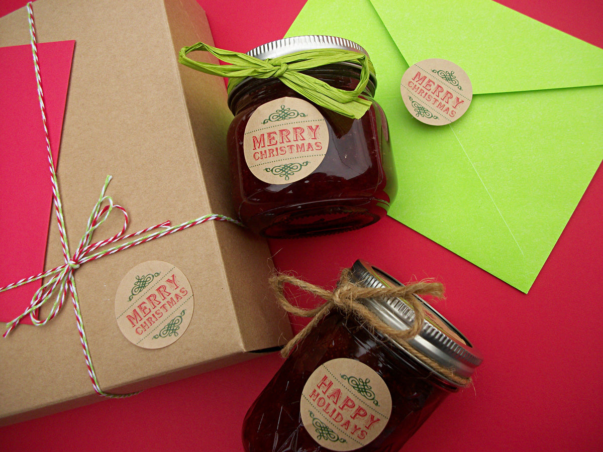 merry christmas happy holidays canning labels | CanningCrafts.com