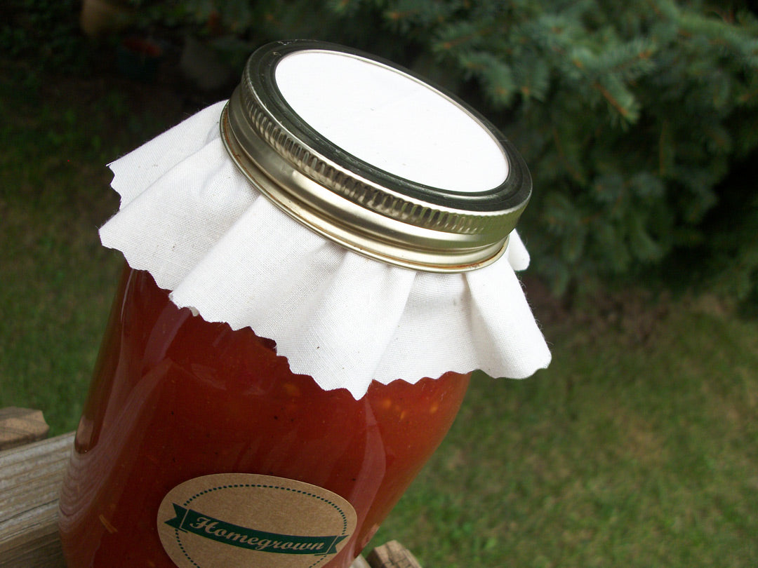 White Muslin Canning Jam Jar Covers | CanningCrafts