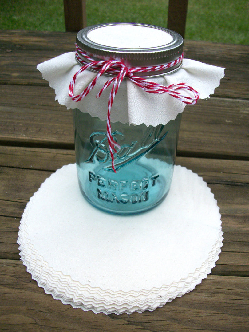 White Muslin Jam Jar Covers | CanningCrafts