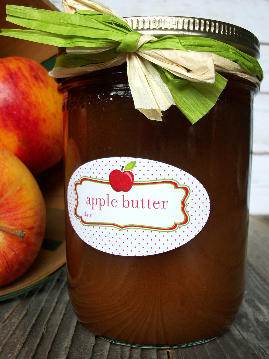 Oval Apple Butter canning jar labels fit quilted Ball jars | CanningCrafts.com