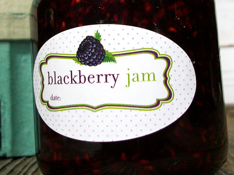 oval blackberry jam canning jar label | CanningCrafts.com