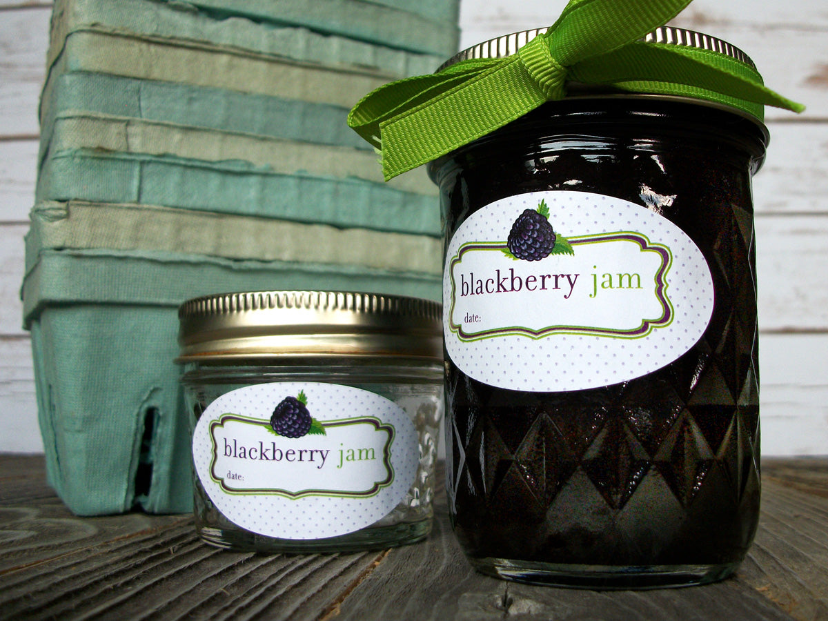 oval blackberry jam quilted jar canning jar label | CanningCrafts.com