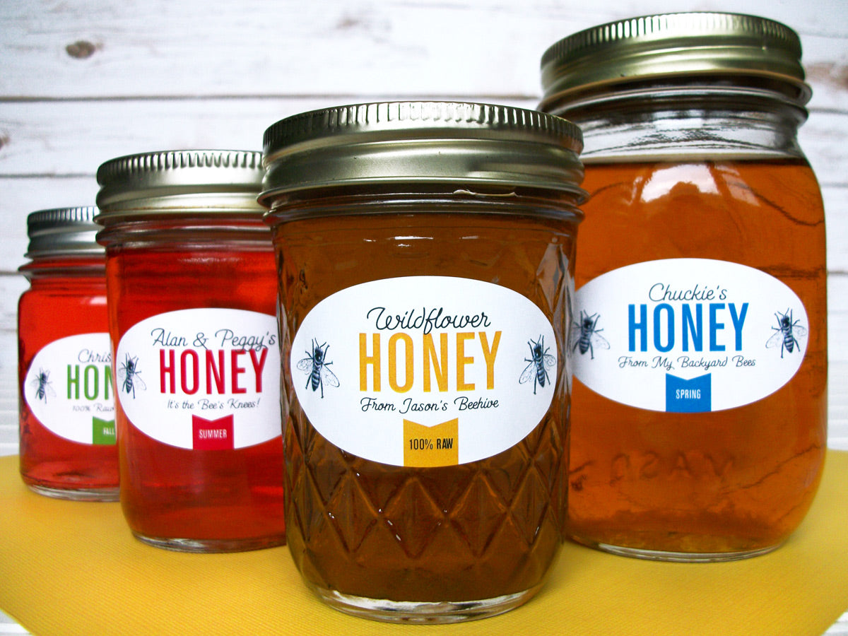 Custom Colorful Oval Honey Jar Labels | CanningCrafts.com
