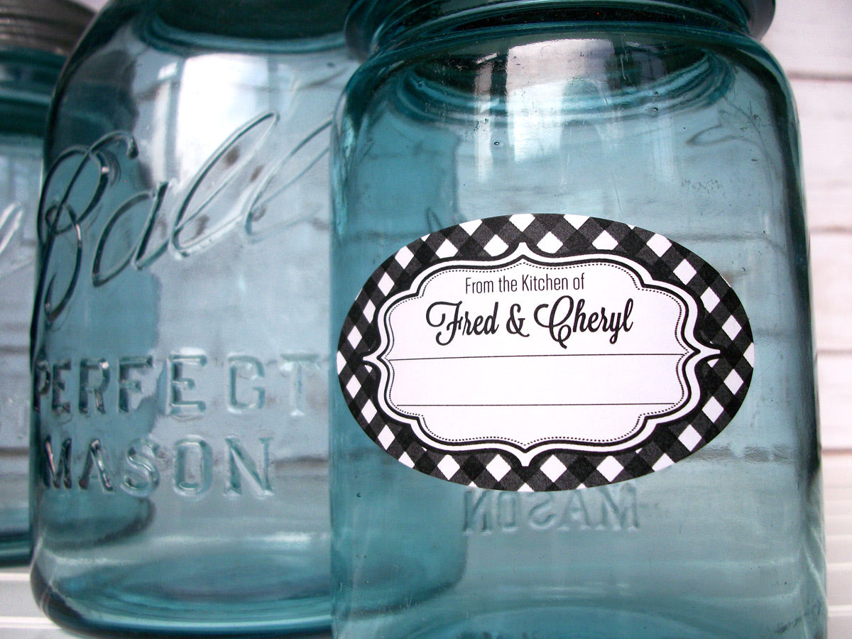 Custom Gingham Oval From the Kitchen Labels