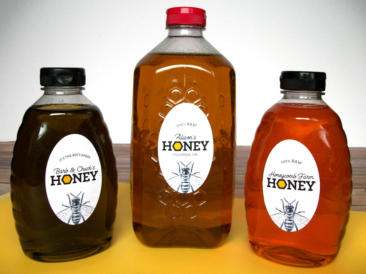 Custom Honeycomb Large Oval Honey Labels | CanningCrafts.com