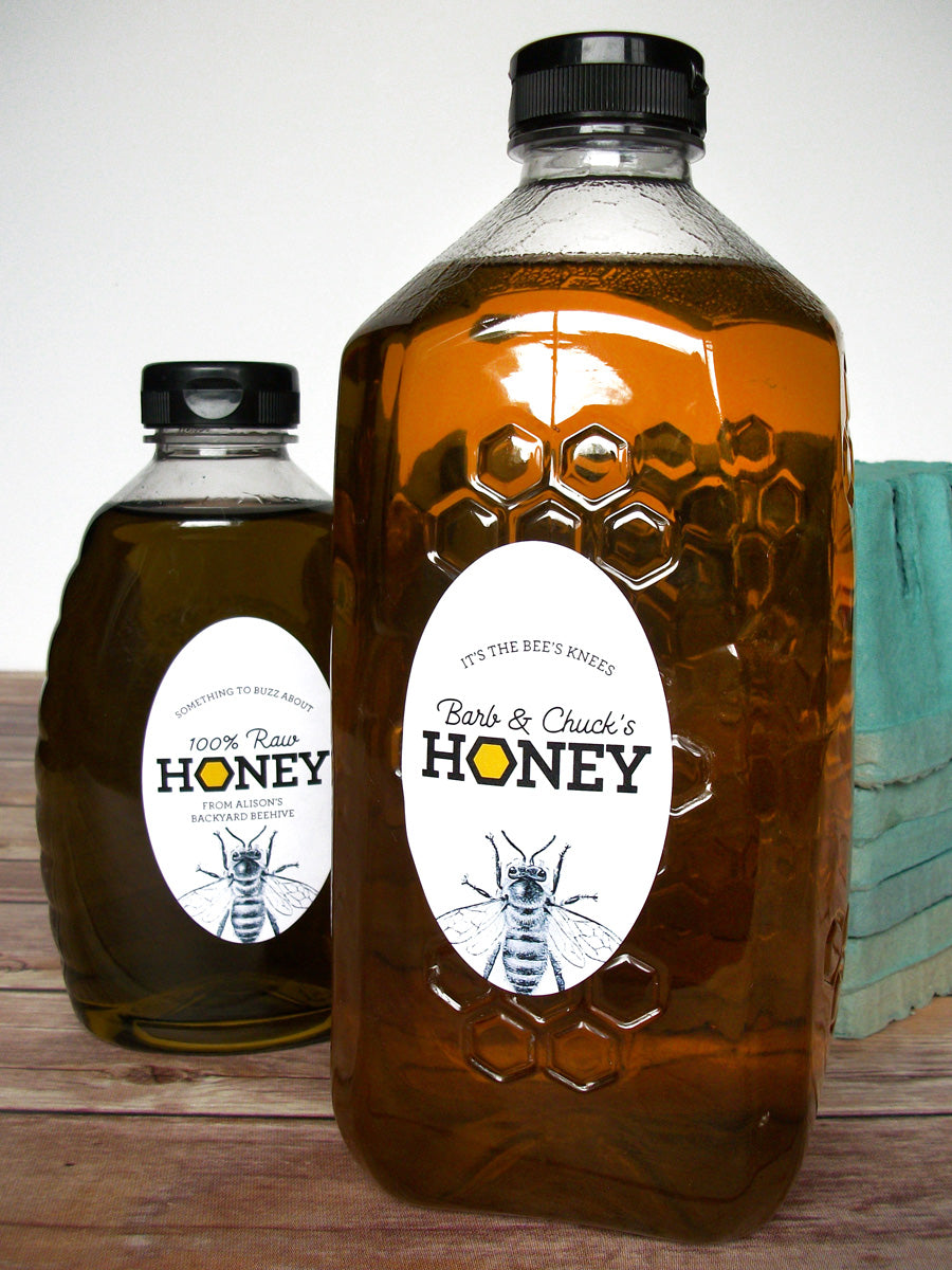 Custom Honeycomb Large Oval Honey Bottle Labels | CanningCrafts.com
