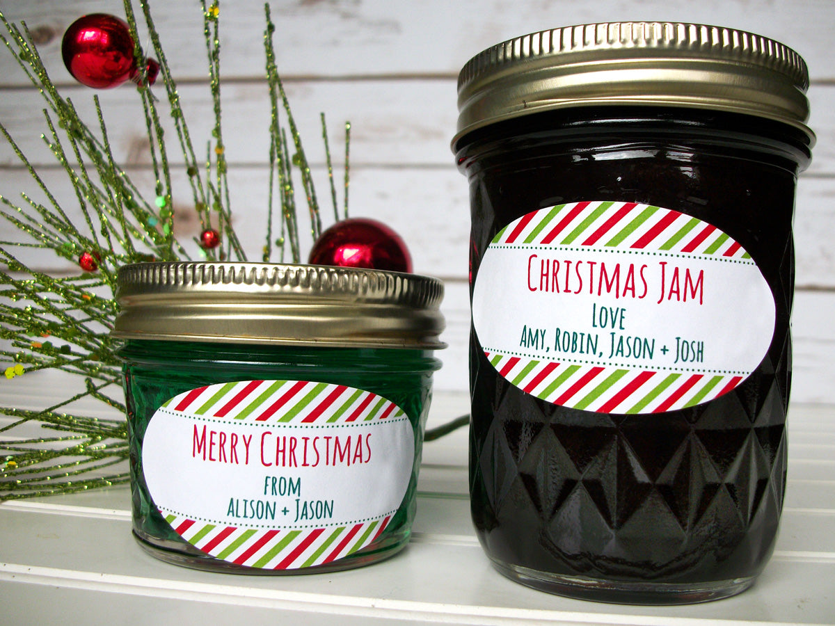 Peppermint Striped Oval Custom Christmas Canning Labels | CanningCrafts.com