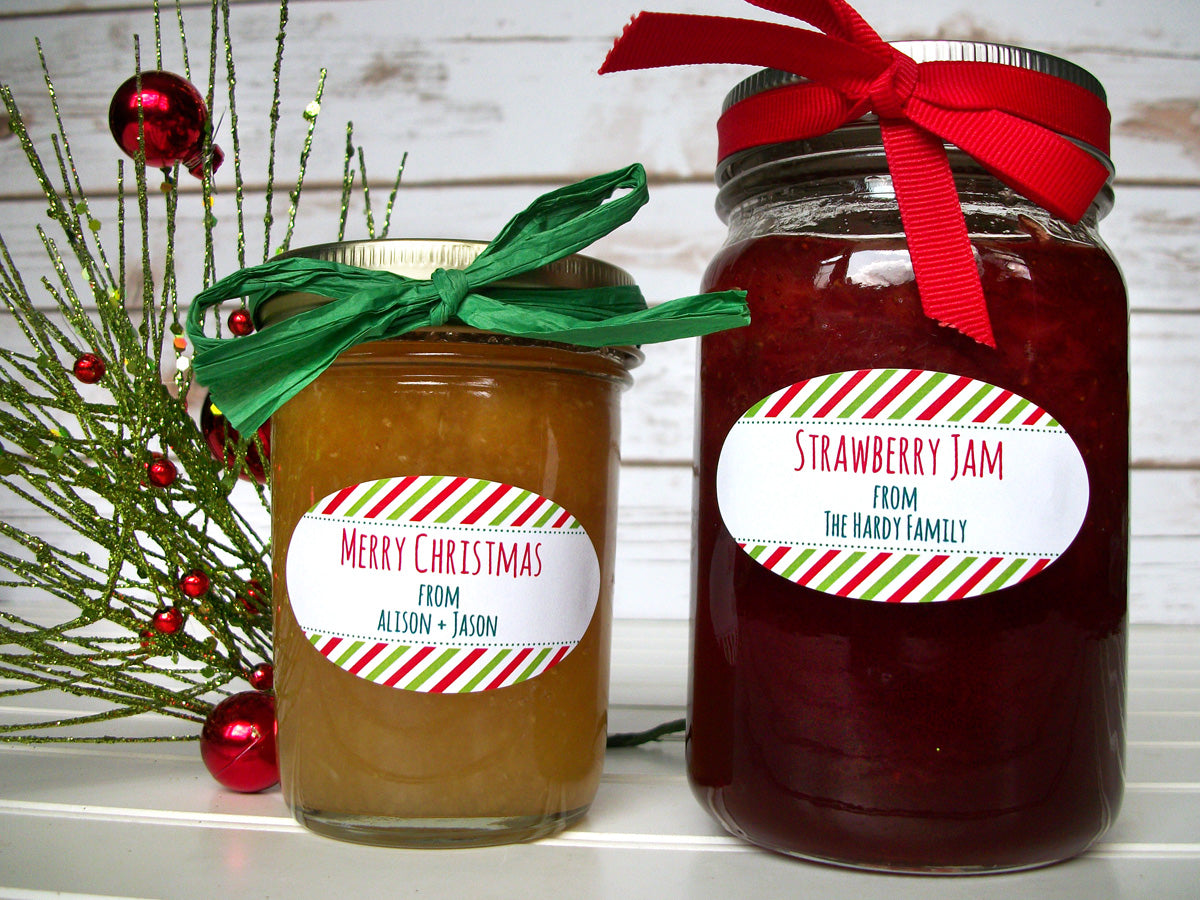 Peppermint Striped Custom Christmas Canning Jar Labels | CanningCrafts.com