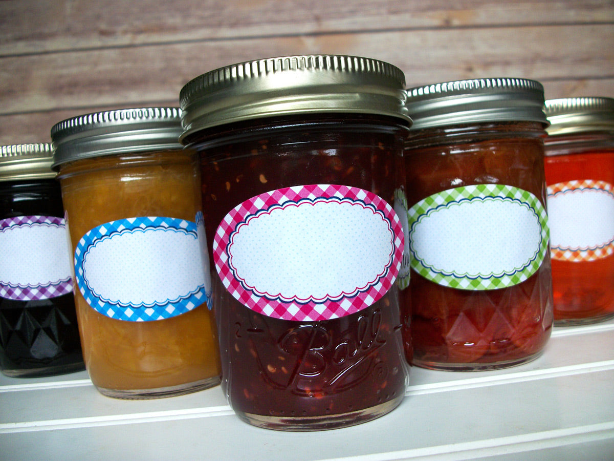 Oval Farmer's Market Gingham Mason Canning Jar Labels | CanningCrafts.com