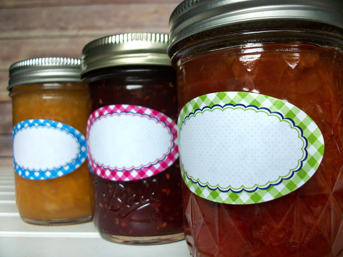 Oval Farmer's Market Gingham Canning Labels | CanningCrafts.com